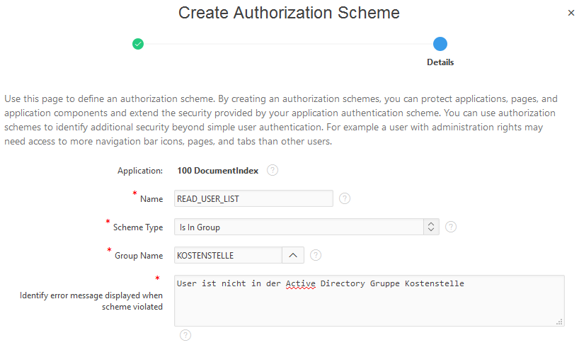 ein Apex Authorization Schemes anlegen