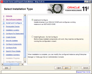 Oracle Reports Installation 11g Screen 3