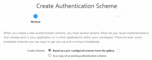 Authentication Schemes anlegen