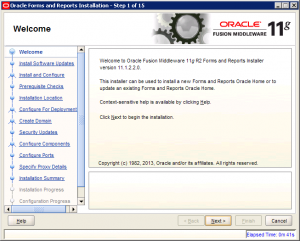 Oracle Reports Installation 11g Screen 1