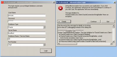 Fehler mit der Oracle.DataAccess.Client.OracleException Primavera.AdminConfig.exe