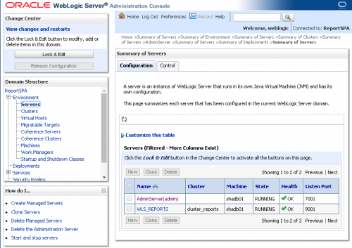Oracle WebLogic Administration Server Console