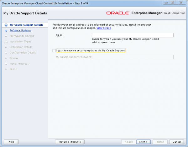 Installation Oracle Cloud Control 12c Schritt 1