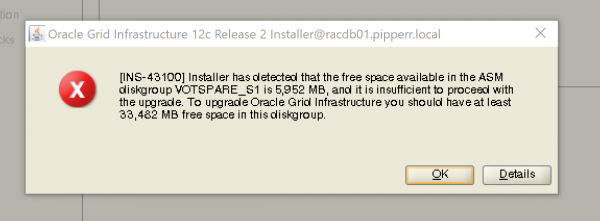 Bug 12c R2 - Upgarde Vot Disk to small