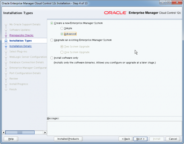 Installation Oracle Cloud Control 12c Schritt 4