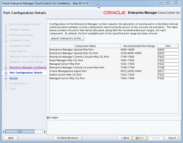 Installation Oracle Cloud Control 12c Schritt 10