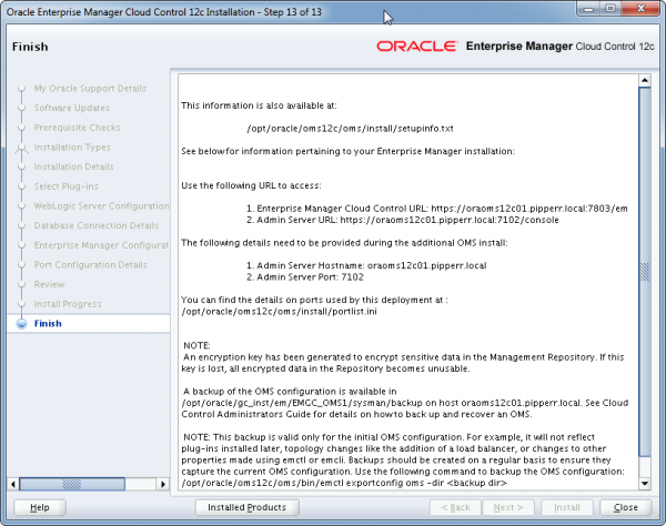 Installation Oracle Cloud Control 12c Schritt 13