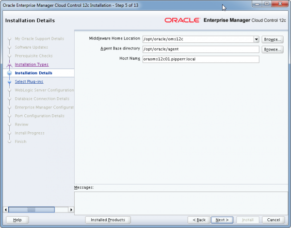 Installation Oracle Cloud Control 12c Schritt 5