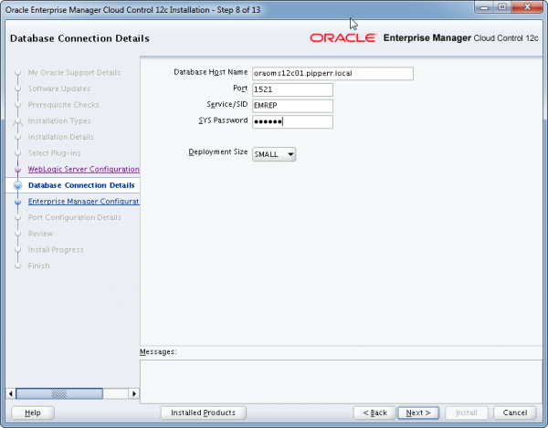 Installation Oracle Cloud Control 12c Schritt 8