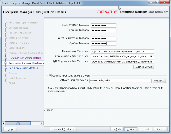 Installation Oracle Cloud Control 12c Schritt 9