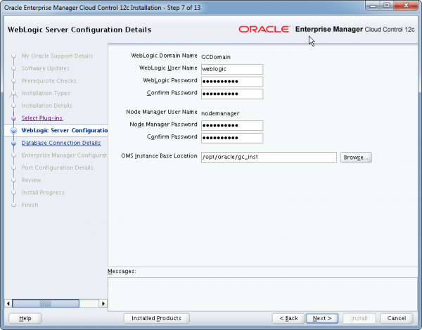 Installation Oracle Cloud Control 12c Schritt 7