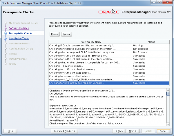 Installation Oracle Cloud Control 12c Schritt 3