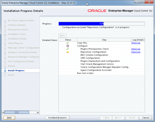 Installation Oracle Cloud Control 12c Schritt 12