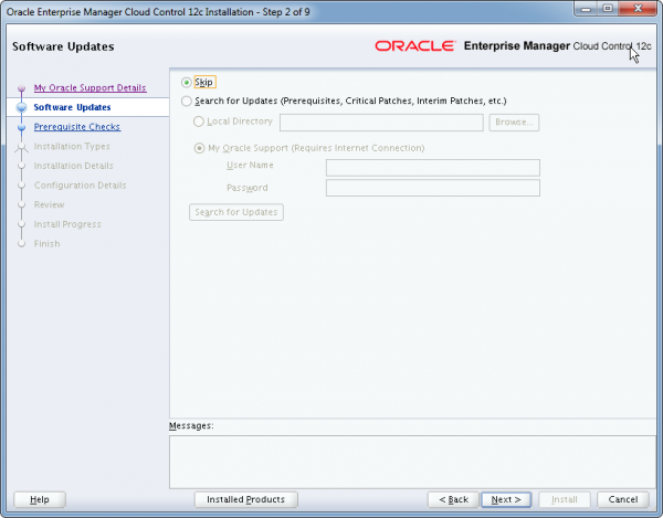 Installation Oracle Cloud Control 12c Schritt 2