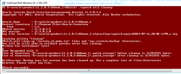Oracle Opatch util cleanup