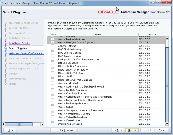 Installation Oracle Cloud Control 12c Schritt 6